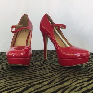 Red patent leather platform stilettos